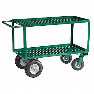 Garden Cart, 1200 lb. Load Capacity, Number of Shelves 2, (2) Rigid, (2) Swivel Caster Type