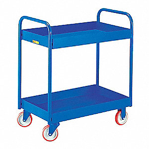 "32""L x 18""W x 36""H Blue Steel Welded Tray Trucks, 800 lb. Load Capacity, Number of Shelves: 2"