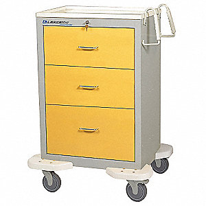 Isolation Cart,25x32x46,Yellow,3 Drawer