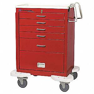 Emergency Cart,25x32x39,Red,5 Drawer