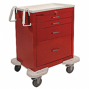 "25""D x 32""W x 39-3/4""H Dual-Wall Steel Emergency Cart, 300 lb. Load Capacity"