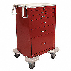 "25""D x 32""W x 45-3/4""H Dual-Wall Steel Emergency Cart, 300 lb. Load Capacity"