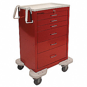 "25""D x 32""W x 46-1/4""H Dual-Wall Steel Emergency Cart, 300 lb. Load Capacity"