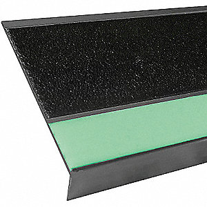 Black with Photoluminescent Front, Aluminum Stair Tread Cover, Installation Method: Fasteners, Bevel