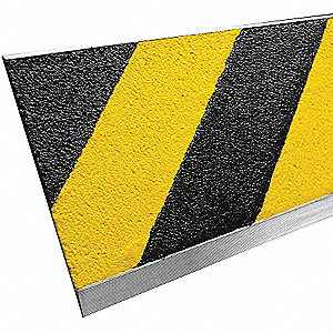 Black and Yellow Hazard Stripe, Aluminum Stair Tread Cover, Installation Method: Fasteners, Beveled