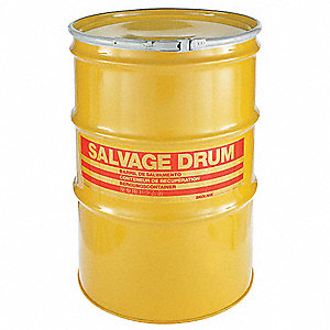 Salvage Drum,Open Head,85 gal.,Yellow
