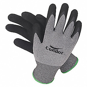 15 Gauge Foam Nitrile Coated Gloves, Glove Size: XS, Gray/Black