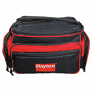 "Canvas Tool Bag, 12-1/2"" Width, Number of Pockets: 5, Black/Red"
