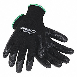 10 Gauge Smooth Nitrile Coated Gloves, Glove Size: M, Black/Black