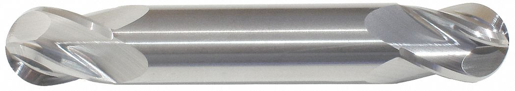 Ball End Mill,  1/4 in,  Carbide,  Bright (Uncoated),  Non-Coolant Through