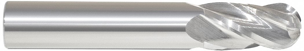 Ball End Mill,  3/8 in,  Carbide,  Bright (Uncoated),  Non-Coolant Through