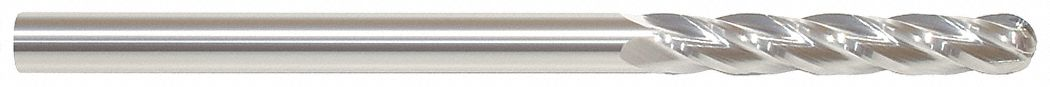 Ball End Mill,  7/16 in,  Carbide,  Bright (Uncoated),  Non-Coolant Through