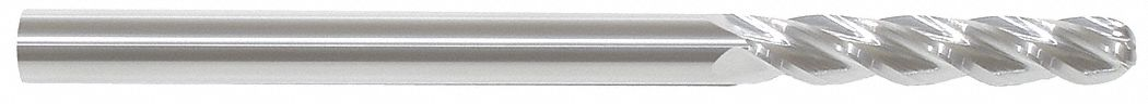 Ball End Mill,  3/4 in,  Carbide,  Bright (Uncoated),  Non-Coolant Through
