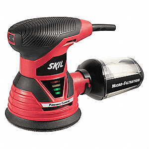 "Random Orbital Sander, Corded, Hook and Loop, 5"" Pad Size, 2.8 Amps, Single Speed Type"