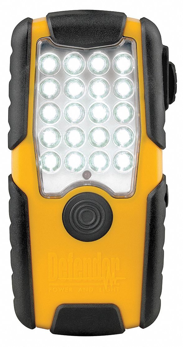 Industrial LED Handheld Flashlight, Plastic, Maximum Lumens Output: 55, Yellow