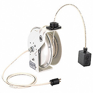 120VCA Heavy Industrial Retractable Cord Reel&#x3b; Number of Outlets: 4, Cord Included: Yes