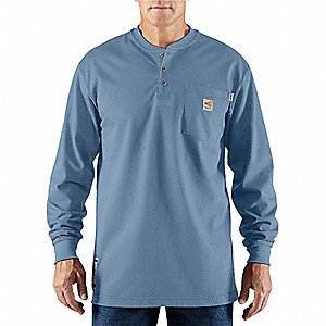 "Medium Blue Flame-Resistant Henley Shirt, Size: 2XL, Fits Chest Size: 50"" to 52"", 8.9 cal./cm2 ATPV"