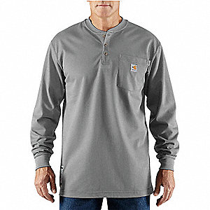 FR Long Sleeve Henley Shirt,Gray,3XLT