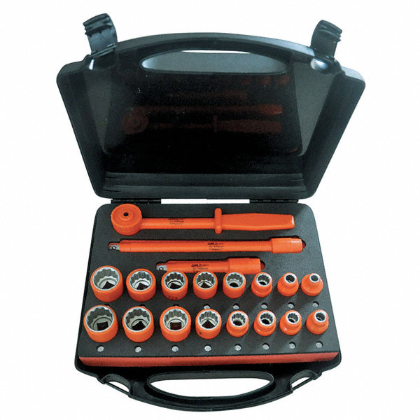 Ch Hanson 1 2 Drive Sae Metric Insulated Socket Wrench Set Number Of Pieces 19 19mv23