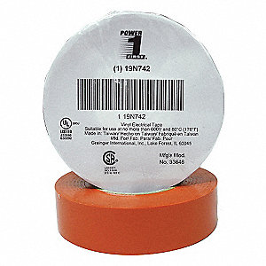 "Orange Flame Retardant Vinyl Electrical Tape, 3/4"" Width, 66 ft. Length, 7 mil Thickness"