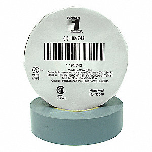 "Vinyl Electrical Tape, Rubber Tape Adhesive, 7.00 mil Thick, 3/4"" X 66 ft., Gray, 1 EA"