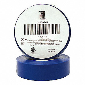 "Vinyl Electrical Tape, Rubber Tape Adhesive, 7.00 mil Thick, 3/4"" X 60 ft., Blue, 1 EA"