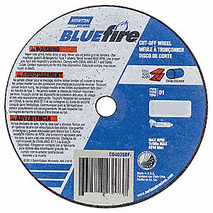 "3"" Type 1 Zirconia Alumina Abrasive Cut-Off Wheel, 3/8"" Arbor, 0.0312""-Thick, 25,465 Max. RPM"