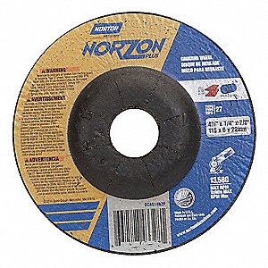 "4-1/2"" x 1/4"" Depressed Center Wheels, Ceramic, 7/8"" Arbor Size, Type 27, Norzon Plus"