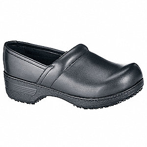 "3-1/4""H Women's Clog Shoes, Plain Toe Type, Full Grain Leather Upper Material, Black, Size 7"