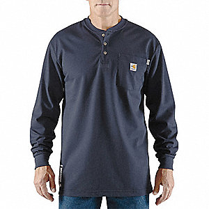 "Dark Navy Flame-Resistant Henley Shirt, Size: 3XL, Fits Chest Size: 54"" to 56"", 8.9 cal./cm2 ATPV Ra"