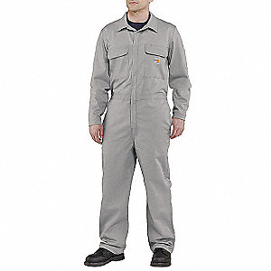 Flame-Resistant Coverall,Gray,52 Regular