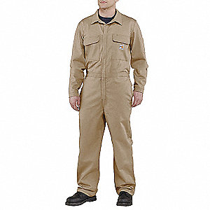 Flame-Resistant Coverall,Khaki,46 Tall