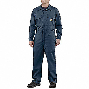 FR Twill/100% Cotton, Flame-Resistant Coverall, Size: 40 Short, Color Family: Blues