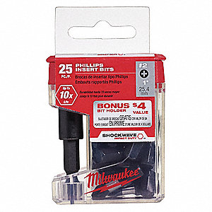 "Insert Bit,1/4"",Phillips,#2,1"",PK25"