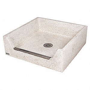 "36 x 36 x 12"" Palomino Tan Mop Sink, 4"" Bowl Depth, Precast Terrazzo Composed of Marble Chips Cast I"