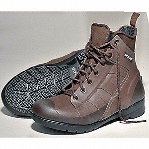 "7""H Men's Work Boots, Plain Toe Type, Rubber Wrapped Neoprene Upper Material, Brown, Size 9"