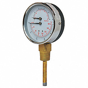 "3"" Round Boiler Gauge with 1/2"" MNPT Bottom Connection, 0 to 200 psi"