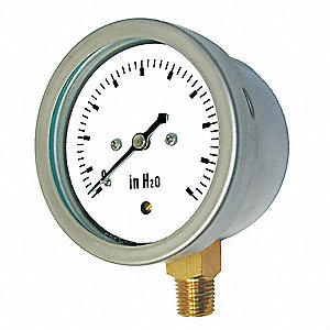 "2-1/2"" Low Pressure Pressure Gauge, 0 to 20 oz./sq. in."