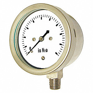 "4"" Low Pressure Pressure Gauge, 0 to 35 oz./sq. in."
