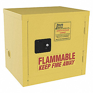 "23"" x 18"" x 22"" Galvanized Steel Flammable Liquid Safety Cabinet with Manual Doors, Yellow"