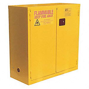 "34"" x 18"" x 44"" Galvanized Steel Flammable Liquid Safety Cabinet with Manual Doors, Yellow"