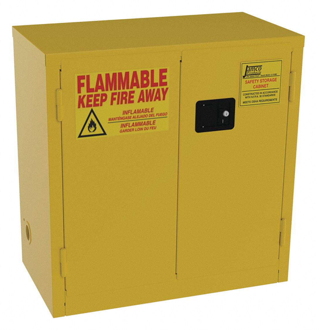 22 gal Flammable Cabinet,  Manual Safety Cabinet Door Type,  35 in Height,  34 in Width