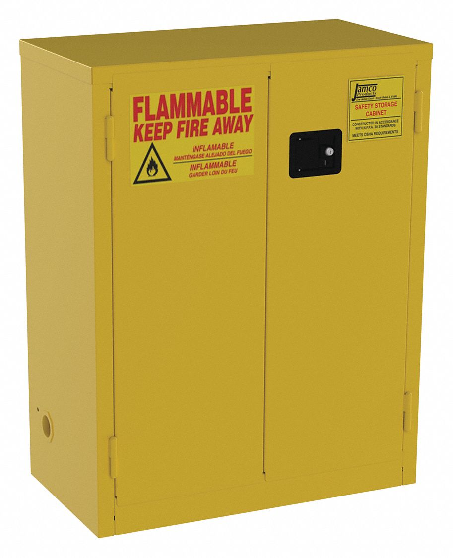 28 gal Flammable Cabinet,  Manual Safety Cabinet Door Type,  44 in Height,  34 in Width