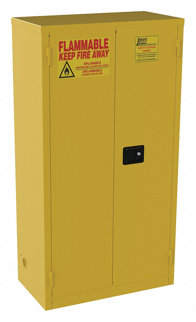 44 gal Flammable Cabinet,  Manual Safety Cabinet Door Type,  65 in Height,  34 in Width