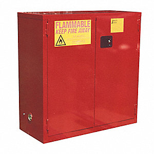 "23"" x 18"" x 44"" Galvanized Steel Paint and Ink Safety Cabinet with Self-Closing Doors, Red"