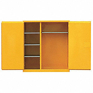 "59"" x 34"" x 65"" Galvanized Steel Vertical Drum Safety Cabinet with Manual Doors, Yellow"