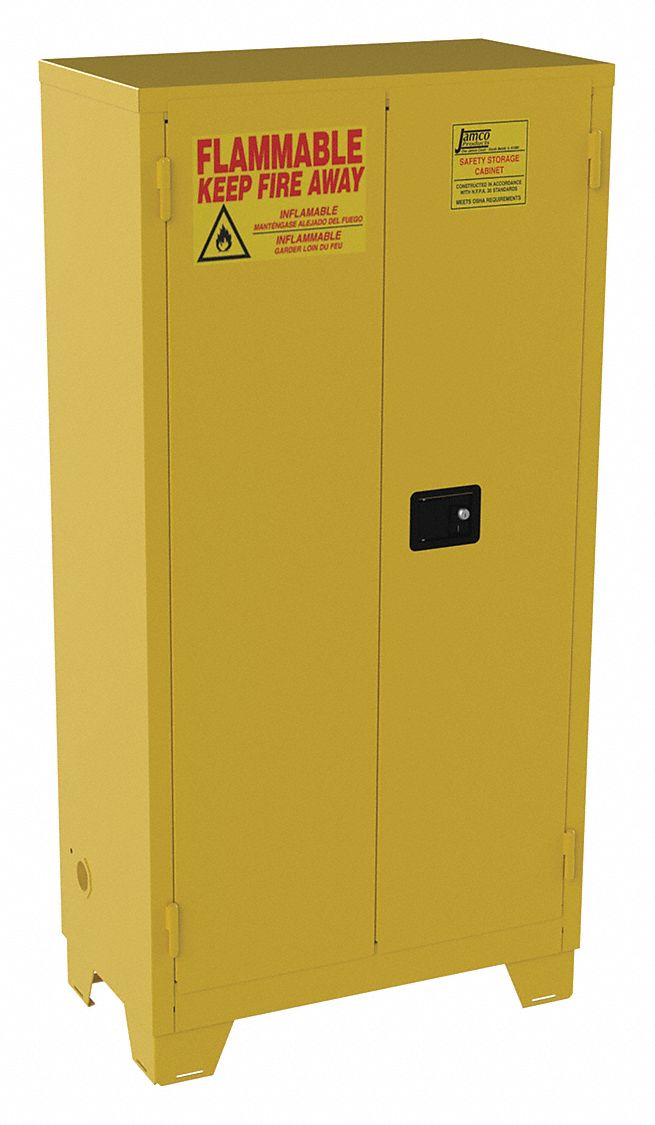 44 gal Flammable Cabinet,  Manual Safety Cabinet Door Type,  70 in Height,  34 in Width