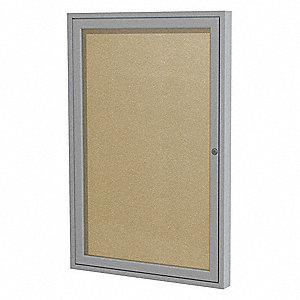 "Push-Pin Outdoor Enclosed Bulletin Board, Vinyl, 36""H x 30""W, Caramel"