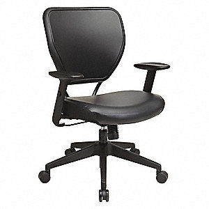 "Black Vinyl Desk Chair 18-1/2"" Back Height, Arm Style: Adjustable"