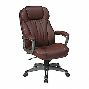 "Desk Chair,Leather,Wine,17-20"" Seat Ht"